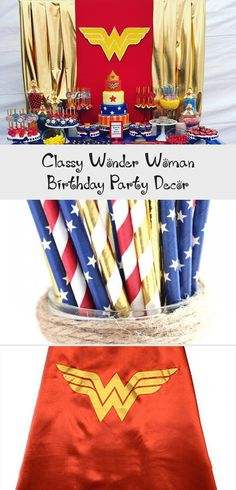 Love this Wonder Woman Backdrop. Make it even MORE classy with a few modifications. Wonder Woman Birthday, Wonder Woman Party, Wonder Woman Logo, Birthday Woman, Tropical Party Decorations, Dinner Party Decorations, Birthday Decorations, Party Themes, Christmas Tree Feathers
