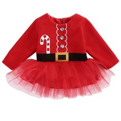 Xmas Newborn Baby Girls Long Sleeve Santa Claus Tulle Dresses Kids Outfits Costume
