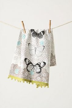 Anthropologie With Pom Pom Edge And Butterflies