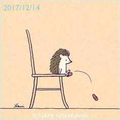 1362 スリッパ slippers #illustration #hedgehog #イラスト #ハリネズミ #なみはりねずみ