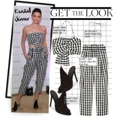 Get The Look: Kendall Jenner by hamaly on Polyvore featuring Essie, Lilou, GetTheLook, ootd, kendalljenner, gingham and waystowear