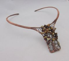 Wire Wrapped Fall Tree Collar Necklace