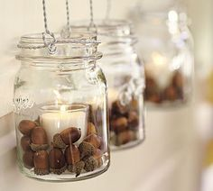 Top 12 Fall Decorating Ideas -Mason Jar, votives and acorns!   Easy!