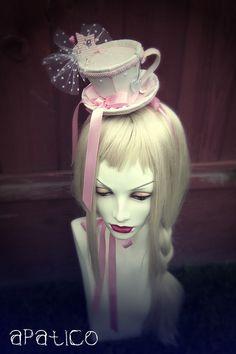 Lolita tea cup hair piece on etsy Tea Hats, Tea Party Hats, Mad Hatter Tea, Mad Hatters, Girls Tea Party, Alice In Wonderland Tea Party, Crazy Hats, Fancy Hats, Headpieces