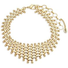 Amrita Singh Choker Necklace ($35) ❤ liked on Polyvore featuring jewelry, necklaces, long chunky necklaces, chunky jewellery, long necklaces, gold tone jewelry and chunky necklaces