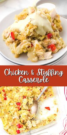 A warm and comforting meal is ready with this chicken stuffing casserole topped with a creamy sauce. Perfect for leftover cooked chicken or turkey, it's a perfect comfort food recipe! Chicken And Vegetable Casserole, Chicken Stuffing Casserole, Chicken And Vegetables, Casserole Dishes, Casserole Recipes, Sauce Recipes, Chicken Recipes, Easy Recipes, How To Cook Chicken