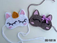 Cat & Unicorn Sleep Masks | Free Crochet Pattern