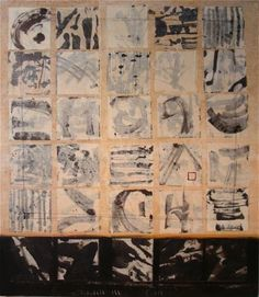 """dailyartjournal:    Karen Jacobs, """"B.Chisou (layers)"""", mixed media on canvas"""