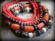 Red & Wood: Stretch Beaded Bracelet