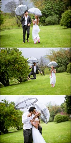 Happy as ever on a rainy wedding day