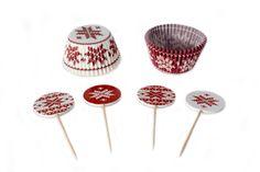 Kit para Decorar Cupcakes Copos de Nieve Rojo y Blanco from Super Materias Primas