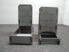 Knock-Down and Fold-Down style dice towers / roller in German Dove Gray Paint --  Dice Roller ready for your custom images