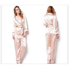 Silk Pajamas Robe Set V Neck Sexy Elegant Slip Sleepwear for Women