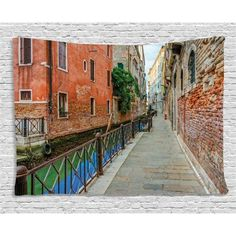Venice Tapestry, Empty Idyllic Streets of Venezia Travel Destination Romantic Vacation Old Buildings, Wall Hanging for Bedroom Living Room Dorm Decor, 60W X 40L Inches, Multicolor, by Ambesonne #romantictravel