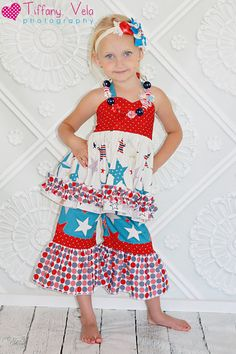 PDF sewing patterns from create kids couture, Anna's top shown with Rihanna's bottoms! I just LOVE the 4th of July!