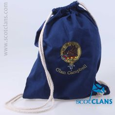Campbell Clan Crest Embroidered Drawstring Bag. Free Worldwide Shipping Available