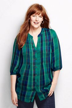 Women's 3/4-sleeve Splitneck Tucked Tunic from Lands' End