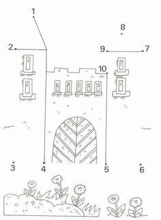Voorbereidend schrijven : volg de getallen kasteel tekenen