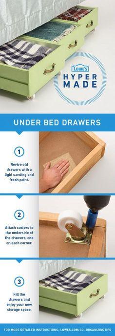 Recicla viejos cajones para conseguir almacenaje debajo de la cama #DIY #Almacenaje