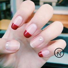 french nails tips Skin Care French Nail Designs, Diy Nail Designs, Colorful Nail Designs, Red Nails, Love Nails, Pretty Nails, Korean Nail Art, Korean Nails, Classy Nails