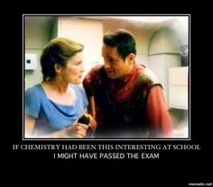 Chemistry - Janeway and Chakotay. The little house on the secluded alien prairie planet  episode.