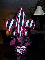 Fleur De Lis Black and White Zebra Party Centerpiece Idea