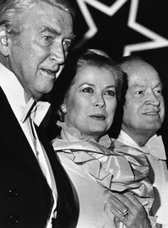 "March 31, 1982- Princess Grace of Monaco smiles as she stands with actors Jimmy Stewart, left, and Bob Hope in Philadelphia on Wednesday, March 31, 1982. The former actress was joined by friends and actors for the opening of the ""Grace Kelly Film Festival"" held at the Annenberg Center in Philadelphia."