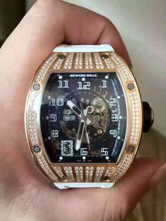 Richard Mille [NEW+RARE] RM 010 Rose Gold Med Set Pave Diamonds at HK$838,000. Luxury Watches, Rolex Watches, Richard Mille, Expensive Watches, Just For Men, Hand Watch, Watch Case, Watch Brands, Clocks