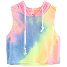ROMWE Women's Summer Sleeveless Tie Dye Hooded Crop Top Yellow one... ($14) ❤ liked on Polyvore featuring tops, yellow tank, summer vest, yellow tank top, sleeveless crop top and yellow crop top