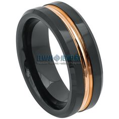 Black IP Plated Tungsten Ring with Rose Gold IP Plated Grooved Center Tungsten Carbide Wedding Bands, Engagement Rings For Men, Anniversary Bands, Wedding Ring Bands, Jewelry Trends, Plating, Rose Gold, Style Fashion, Jewellery