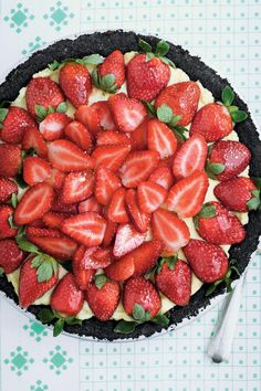 A dark-chocolate crust and jewel-bright berries brushed with jelly turn this down-home pie into company-worthy fare.    Recipe:Strawberry Cream Pie