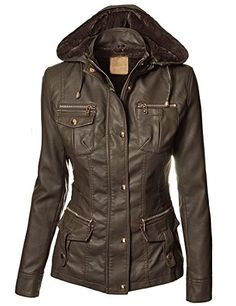 This is the leather jacket of my dreams :)  Lock and Love Women's Faux Fur Lined Vegan Leather Parka M COFFEE Lock and Love