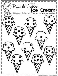 Roll and Color Ice Cream Worksheets for Preschool #countingworksheets #preschoolmath #mathworksheets #preschoolworksheets #icecreamworksheets #summerworksheets #planningplaytime