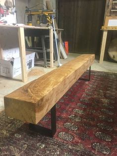 Oak Beam Bench with Black metal legs. This is a 1 off item and very 449823dbd187
