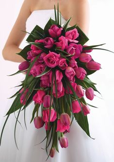Hot pink tulip and rose cascade bouquet