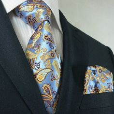 Landisun 81K Blue Yellow Brown Paisley Men Silk Tie Set: Tie+Hanky