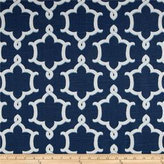 Home Accents Medina Slub Baltic Blue from @fabricdotcom  Screen printed on cotton slub duck (slub cloth has a linen appearance), this versatile medium weight fabric is perfect for window accents (draperies, valances, curtains and swags), accent pillows, bed skirts, duvet covers, slipcovers , upholstery and other home decor accents. Create handbags, tote bags, aprons and more. Colors include white and baltic blue.