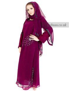 crystal fashion jilbab-burgendy
