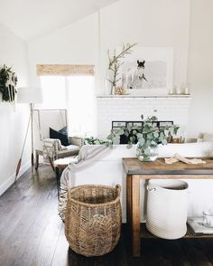 White bohemian and rustic style living room
