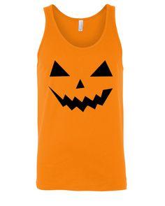 Halloween Jack O Lantern Face Orange Unisex Tank Top - Best Coast Shirts