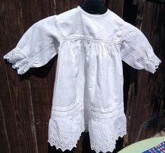 Romantic Vintage 1950's French Christening Dress. White Fleece Damask Cotton…