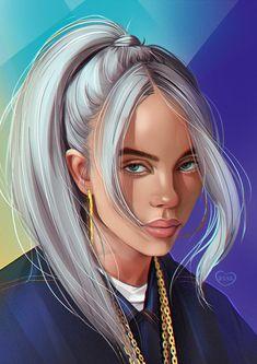 Billie Eilish, Digital Art Girl, Digital Portrait, Wallpaper Sky, Disney Wallpaper, Celebrity Drawings, Girl Cartoon, Portrait Photography, Wall Decor