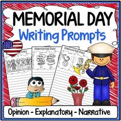 Memorial Day Free Writing Prompts - This Memorial Day free writing prompts resource includes 15 themed Memorial Day prompts to get students thinking and writing about the true meaning of Memorial Day and the people that sacrificed their lives to protect our freedom.There are 5 writing prompts for each of the following categories: opinion writing, informative/explanatory writing, and narrative writing.We have also included mini versions of each writing prompt that can easily be pasted into an int Classroom Signs, Online Classroom, Classroom Ideas, May Themes, Narrative Writing Prompts, Informational Writing, Opinion Writing, Spring Activities, Memorial Day
