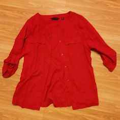 Red button up Lightly used Tops Blouses