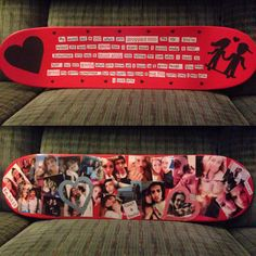 Skateboard I made for my boyfriend on Valentine's Day I cut out the boy and girl and the hearts out of grip tape and used mod podge for the pictures and words ❤️