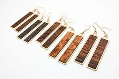 Exotic Wood Veneer - Modern Brass Dangle Earrings (Hypoallergenic) Custom Made - Choose Your Wood Species & Grain Direction Wood Earrings, Diy Earrings, Wooden Jewelry, Custom Jewelry, Premier Designs Jewelry, Jewelry Design, Gold Wood, Wood Veneer, Wood Species
