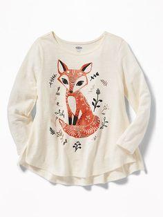 Critter-Graphic Slub-Knit Swing Top for Toddler Girls