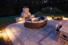 "Night Scene: Modified 48"" Contractor Series Outdoor Fireplace Kit."