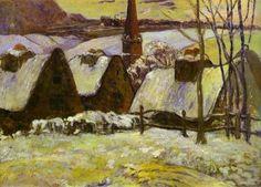 Breton village under snow - Paul Gauguin