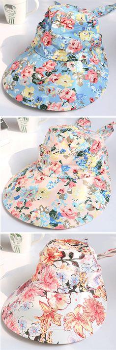 Women Summer UV Protection Floral Gardening Detachable Hat Beach Outdoor Sunscreen Visor Sun Cap